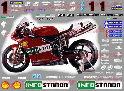 2002 Ducati 998 Infostrada - Green Race Decal Kit