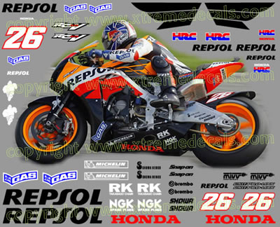 2007 Repsol Honda Race Decal Set 48 decals Pedrosa