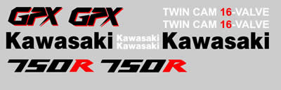 Kawasaki GPX 750R 1988 Decal set