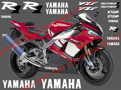 Yamaha R1 2001 Red Bike Model Decal set