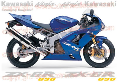 Kawasaki ZX-6R 2004 Blue Bike Decal Set