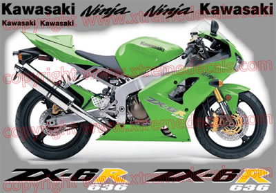 Kawasaki ZX-6R 2004 Green Bike Decal Set