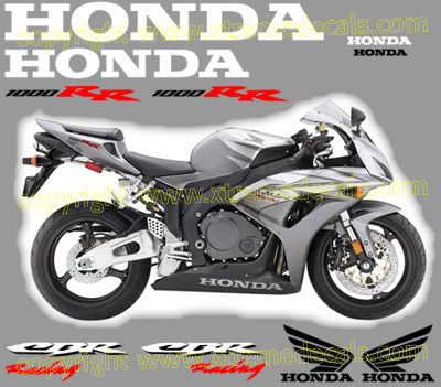 2006 CBR 1000 RR Silver Bike Decal Kit