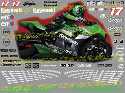 Kawasaki ZX RR Ninja Race Decal Set  2006 Style