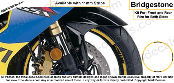 Wheel Rim Decal Kit Bridgestone
